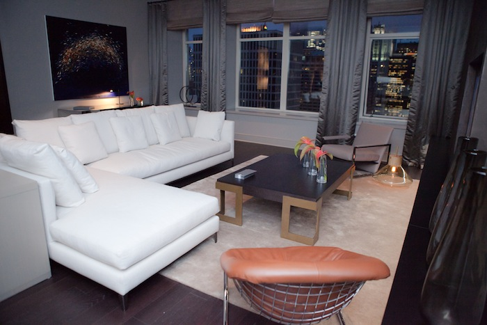 White sectional sofa in a living room