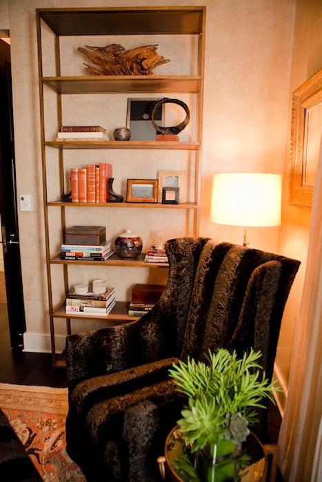 A fuzzy chair next to a bookshelf