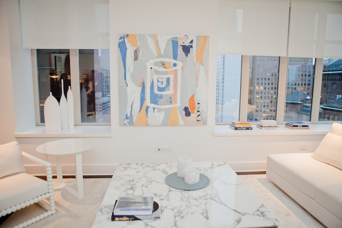 An all-white living room