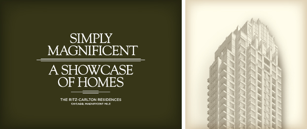 Graphic reads: Simply Magnificent, a showcase of homes, the Ritz-Carlton Residences, Chicago, Magnificent Mile, next to a photo of the building's exterior