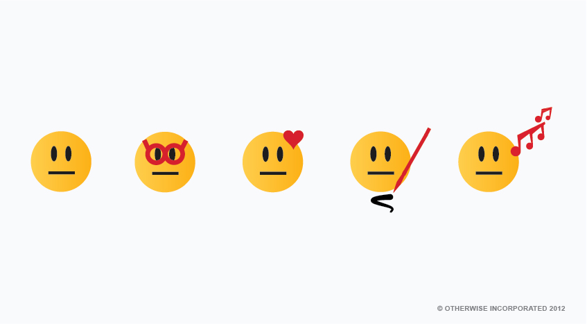 Five emojis in a row with straight lines for mouths