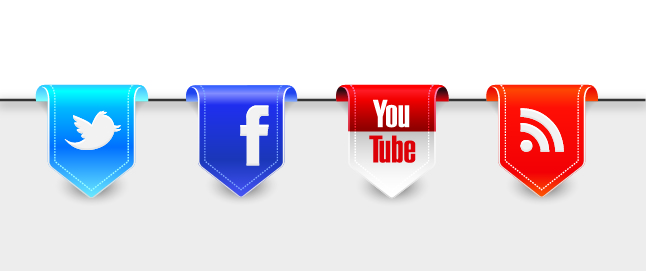 Ribbon banners for social media platforms Twitter, Facebook, YouTube and Blogspot