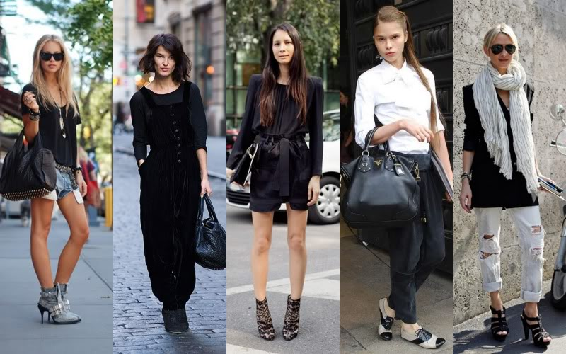 Five street style fashion photographs in a collage