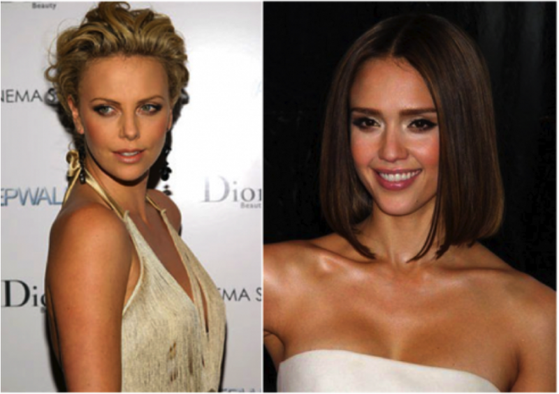 Charlize Theron on the left, Jessica Alba on the right