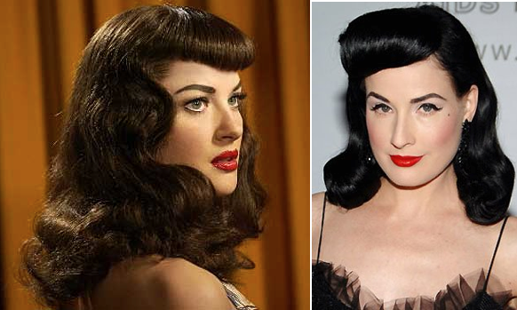 Two women with rockabilly hairstyles