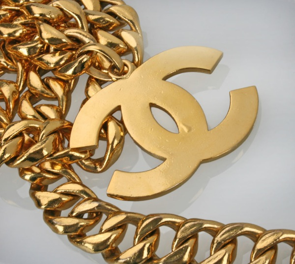 CHANEL logo necklace on a big gold chain