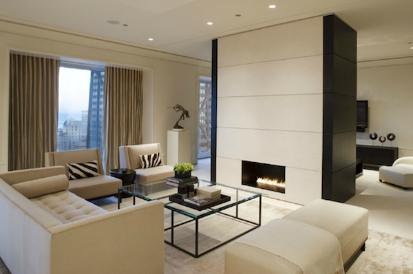A white living room designed by Jessica Lagrange Interiors LLC