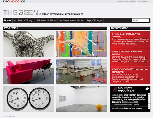 The Seen blog page designed for EXPO Chicago 2012