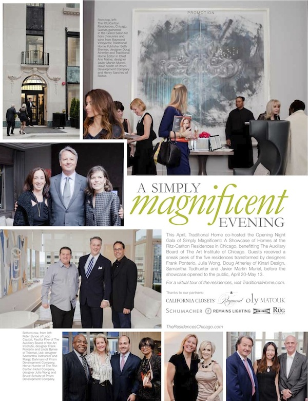"""A magazine spread that reads """"A Simply Magnificent Evening"""" showcasing tours of a traditional home"""