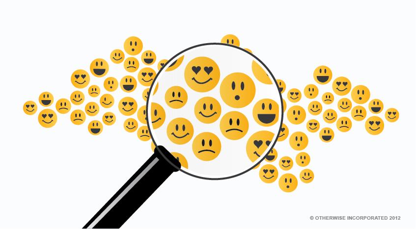Emojis beneath a magnifying glass