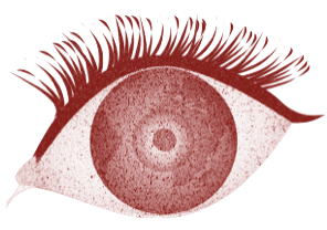A large illustrated red eye with thick eyelashes and large pupil