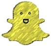 Yellow Snapchat ghost icon with a big smiling face