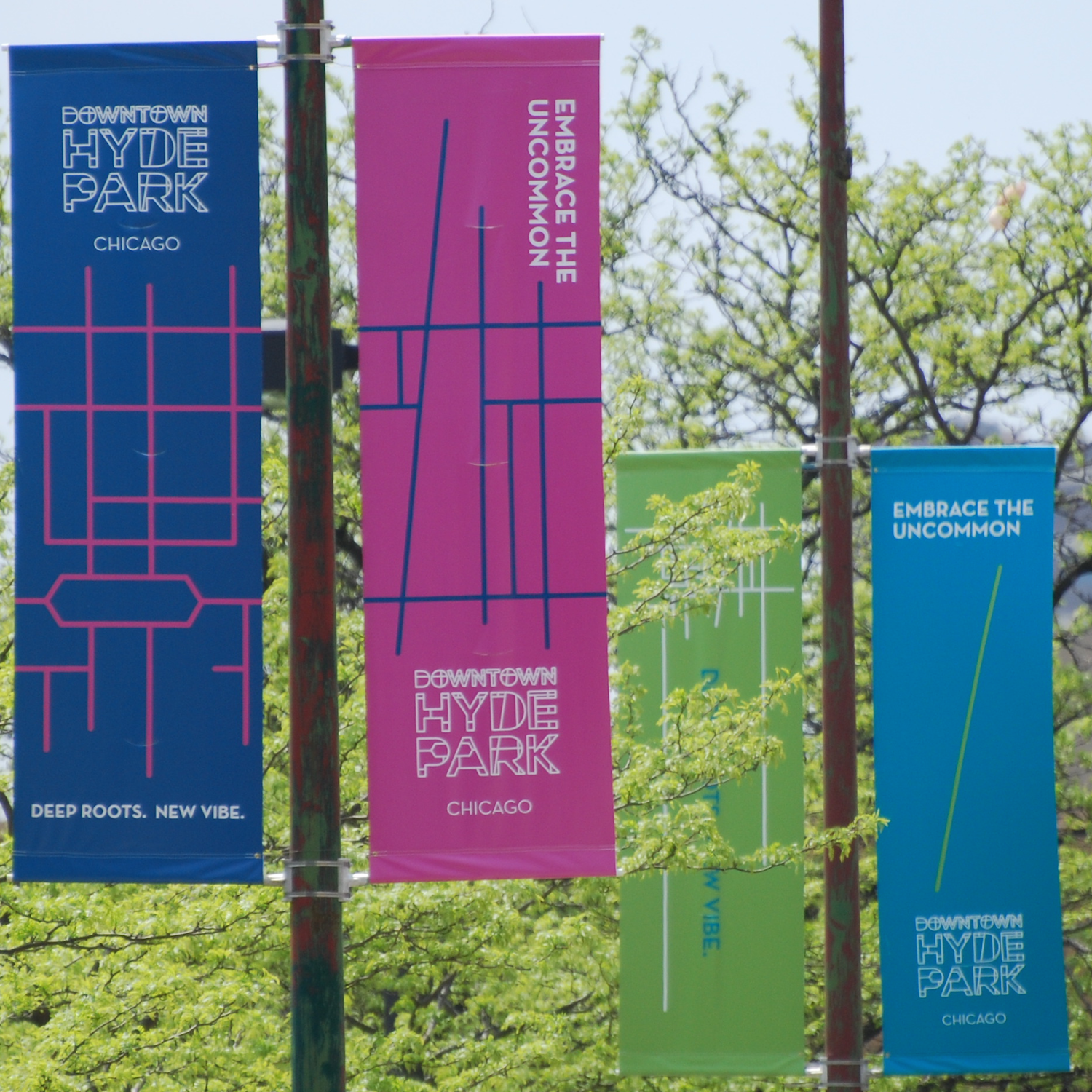 Outdoor banners with the Downtown Hyde Park new brand logo