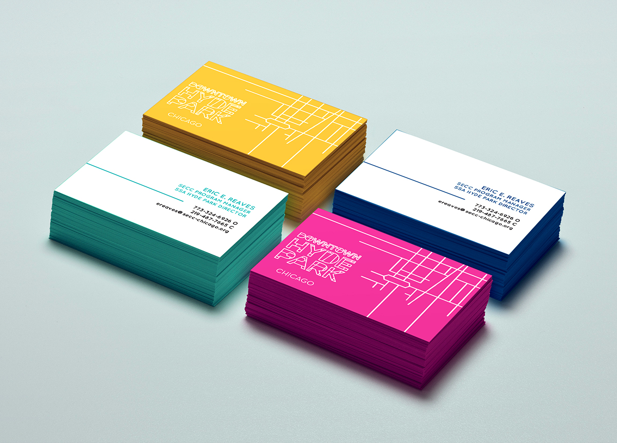 Business cards designed for Downtown Hyde Park