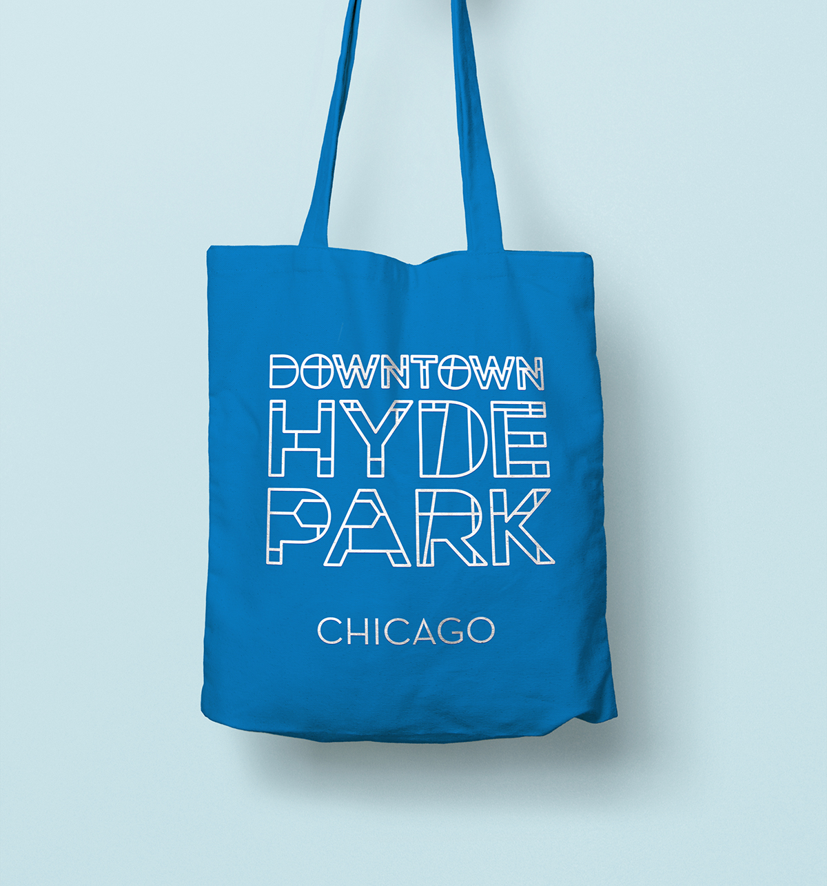 Downtown Hyde Park logo on a tote bag