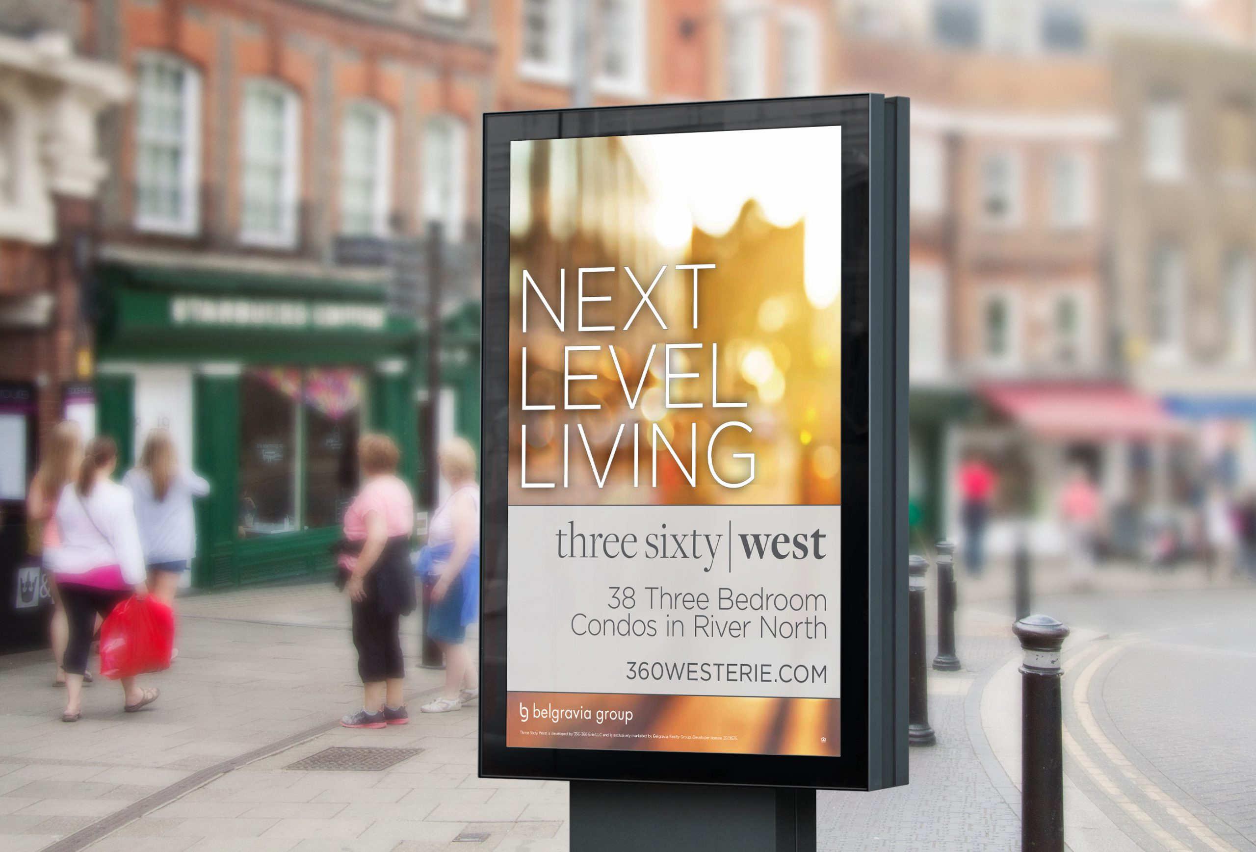 """Outdoor advertising signage for Three Sixty West that reads """"next level living"""""""