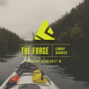 The Forge logo set over an image of a canoe on a river