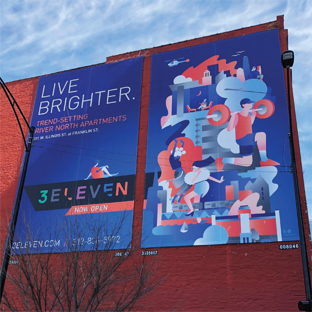"""Outdoor advertising campaign for 3Eleven with headline reading """"Live Brighter"""" alongside a vibrant illustration that features coral pink"""