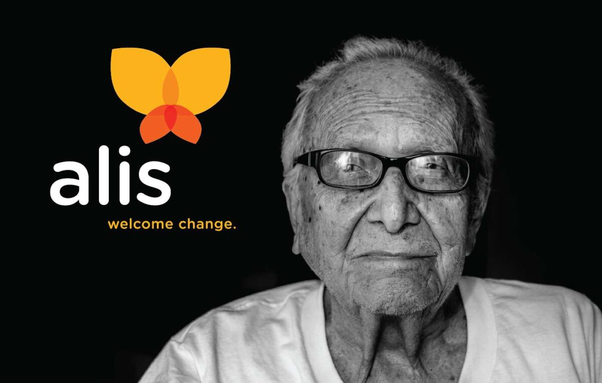 Tagline created for technology platform ALIS reading WELCOME CHANGE.