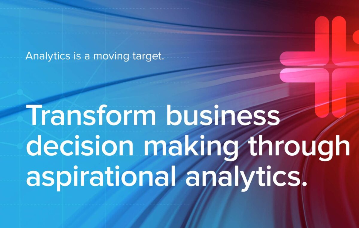Logo with text that reads Analytics is a moving target transform business decision making through aspirational analytics