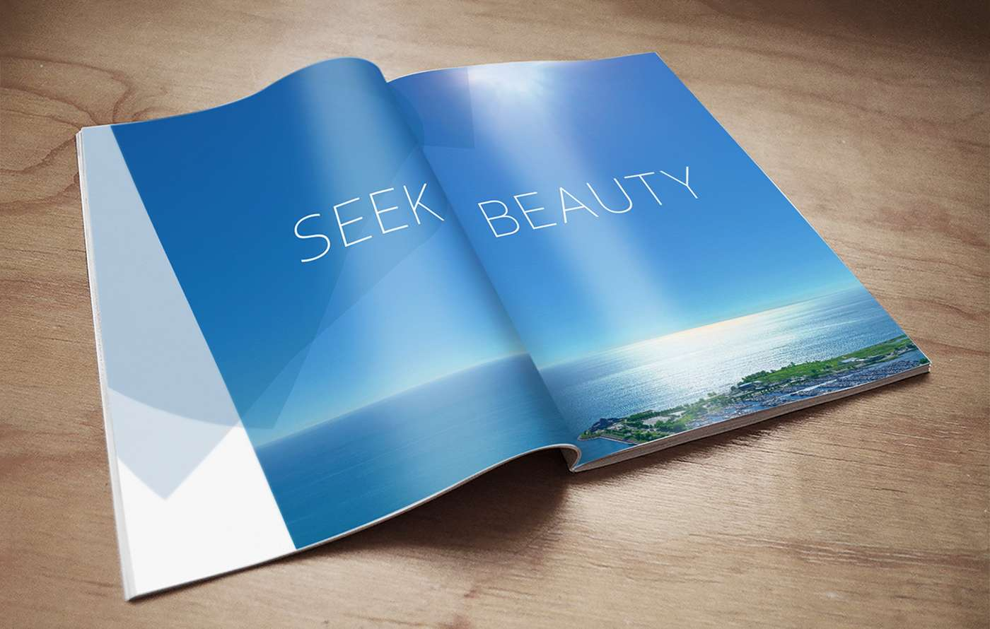 Print ad with initial 1000M teaser campaign and tagline Seek Beauty