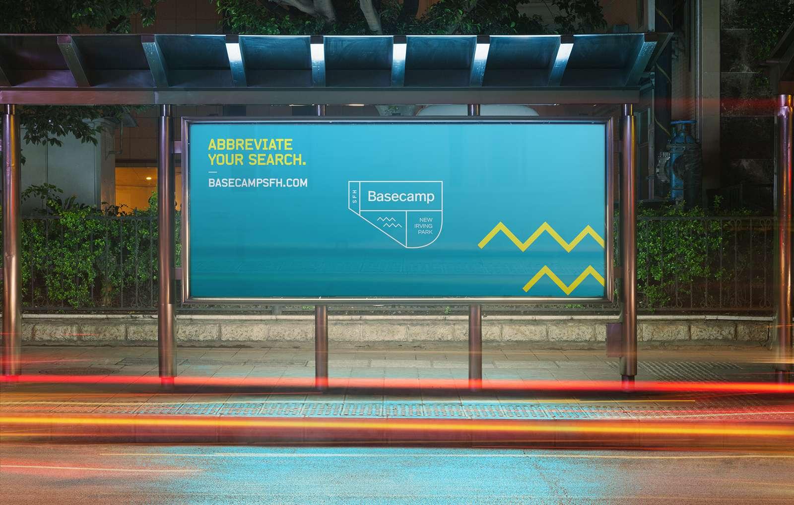 Bus ad design for Chicago real estate brand Basecamp
