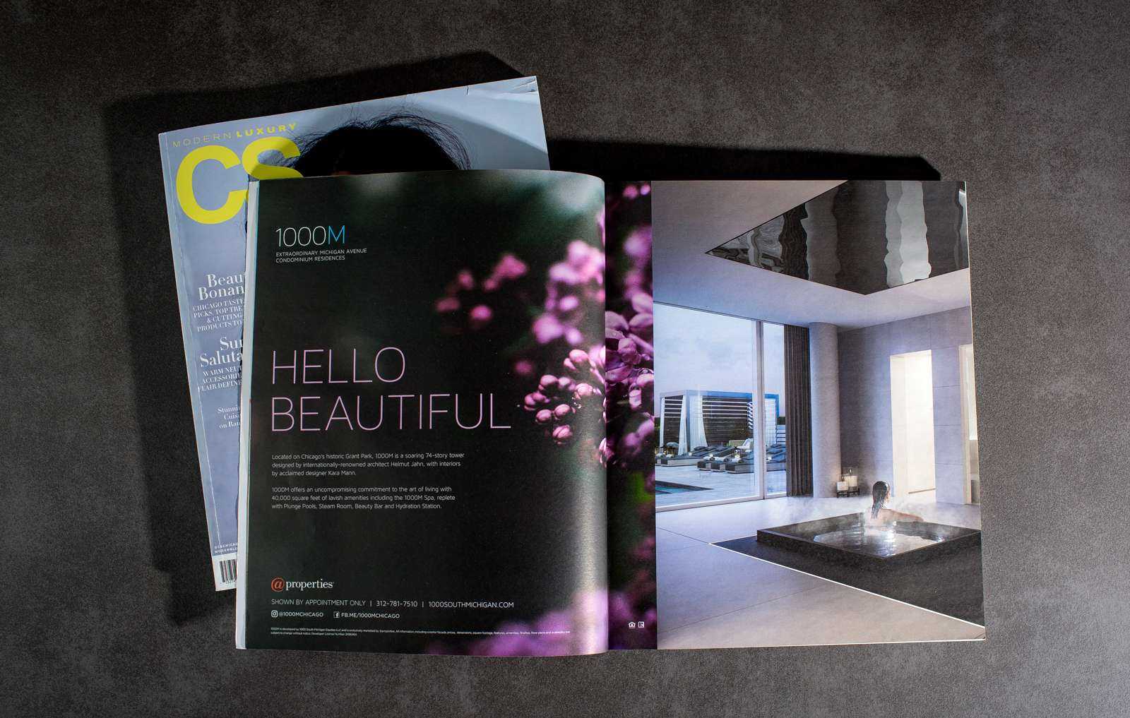 Magazine print marketing campaign designed for luxury real estate brand 1000M, with creative Hello Beautiful campaign