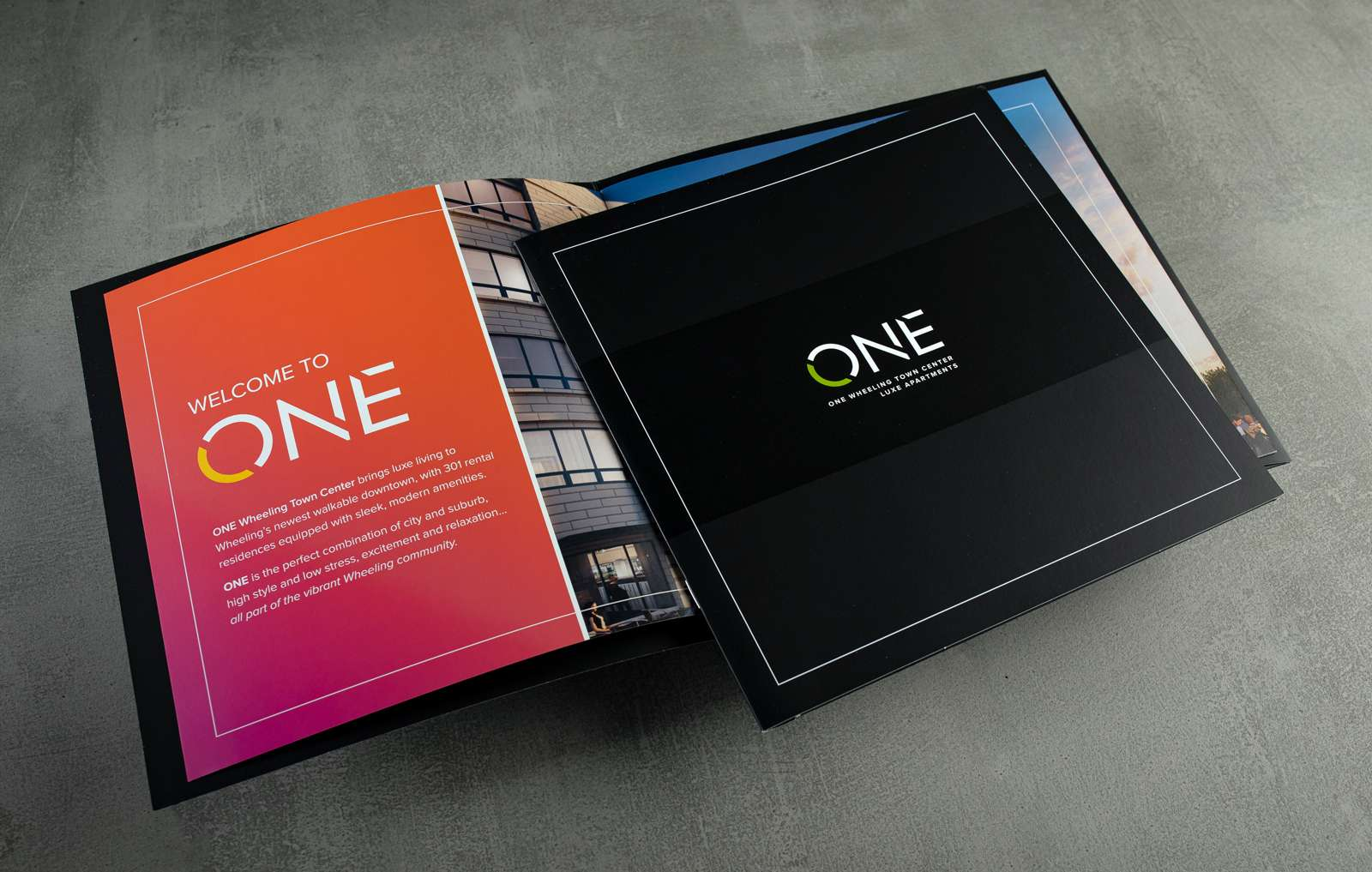 Print collateral kit design for ONE Wheeling Town Center