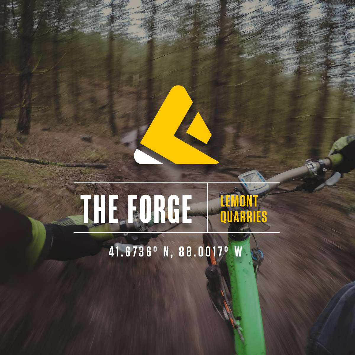 Logo design for The Forge, set over photo of bike in motion