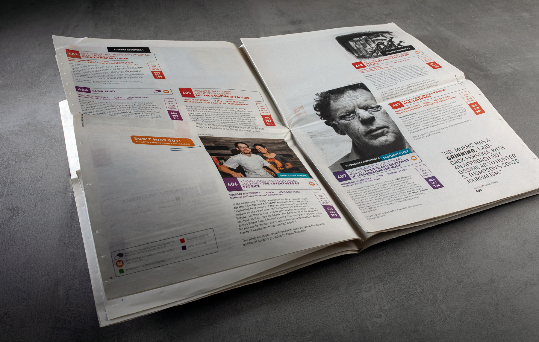 Print collateral kit design for Chicago Humanities Festival