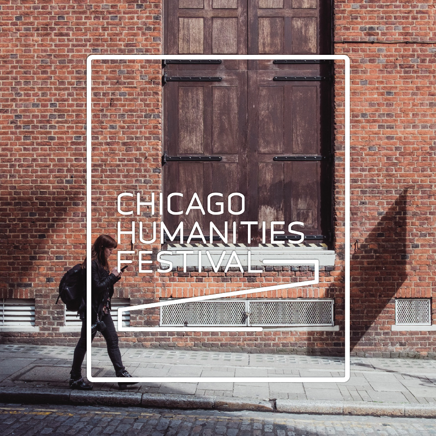 Chicago Humanities Festival logo set over photo of person walking down the street