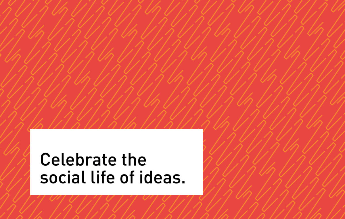 Tagline for Chicago Humanities Festival, set over pattern design, reading: Celebrate the social life of ideas