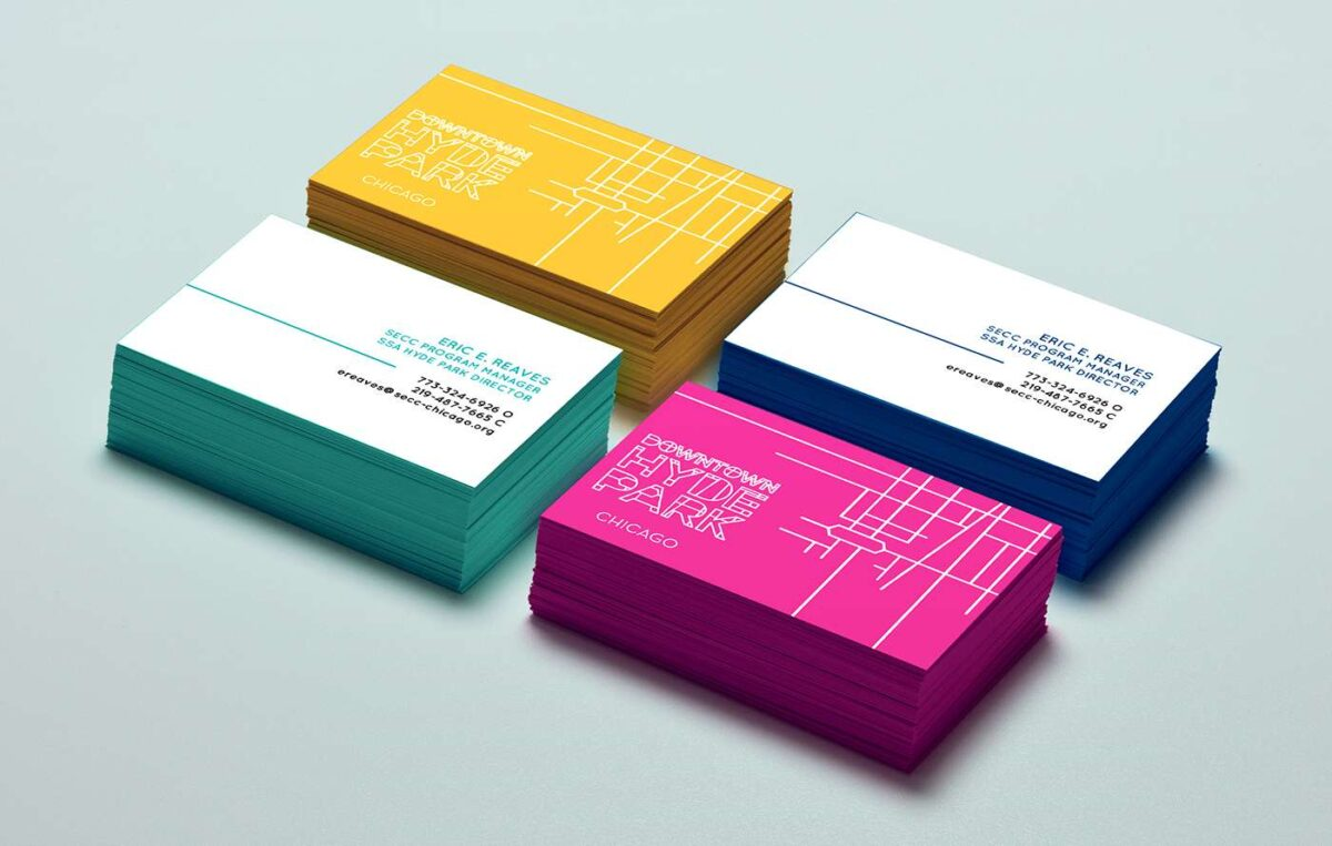 Business cards designed for Downtown Hyde Park brand