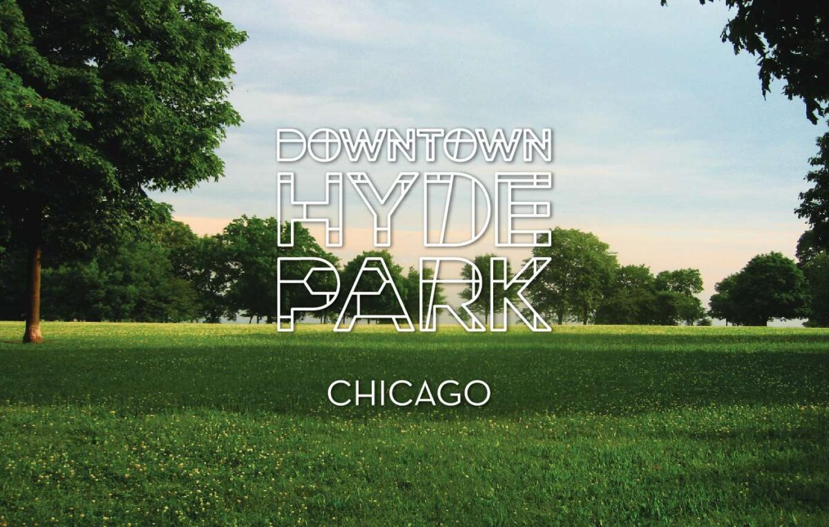 Downtown Hyde Park logo set over an image of a park