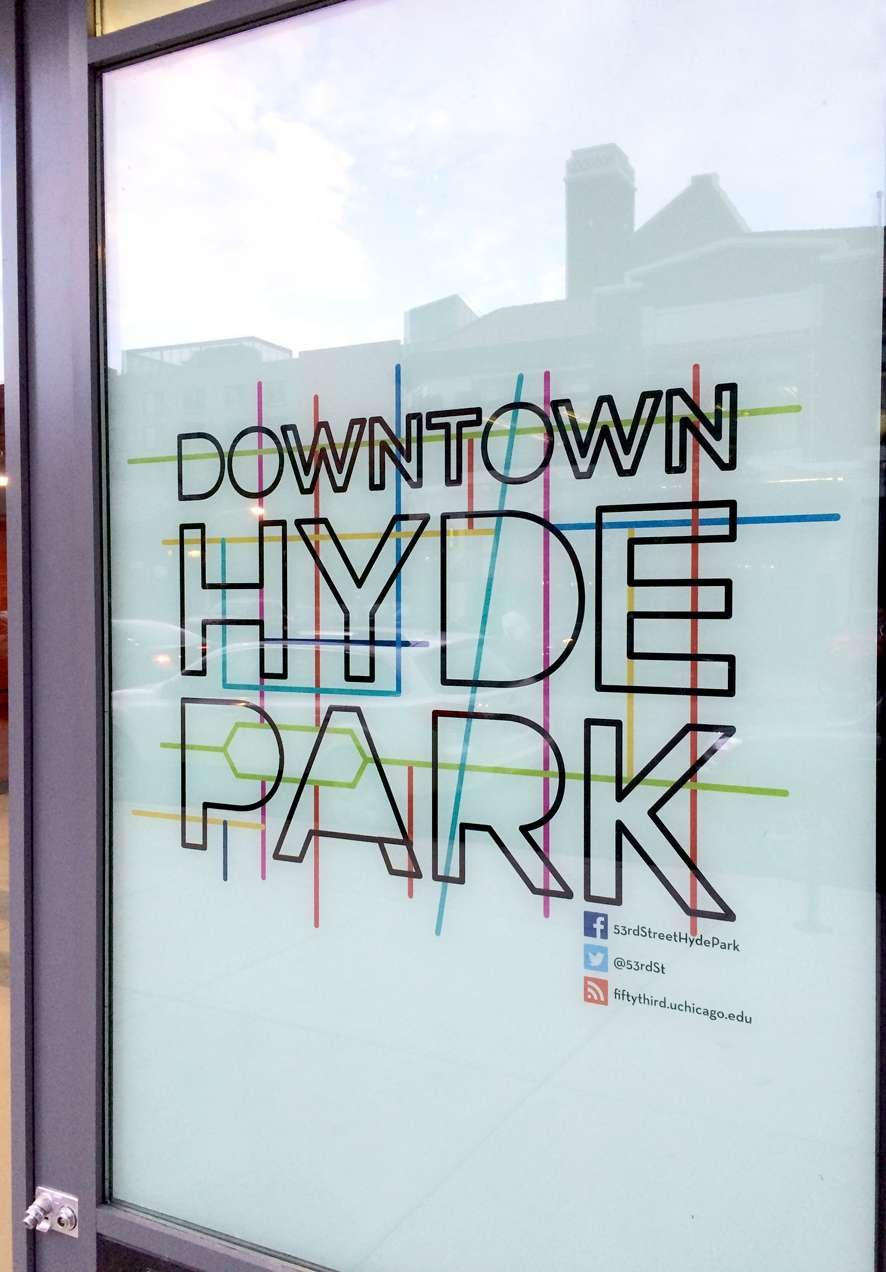 Downtown Hyde Park logo set on a door