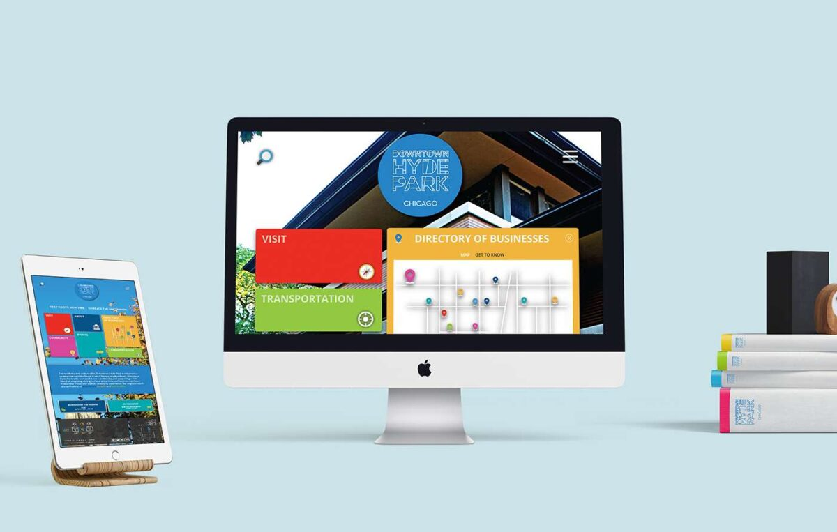 Website design for Downtown Hyde Park displayed on desktop