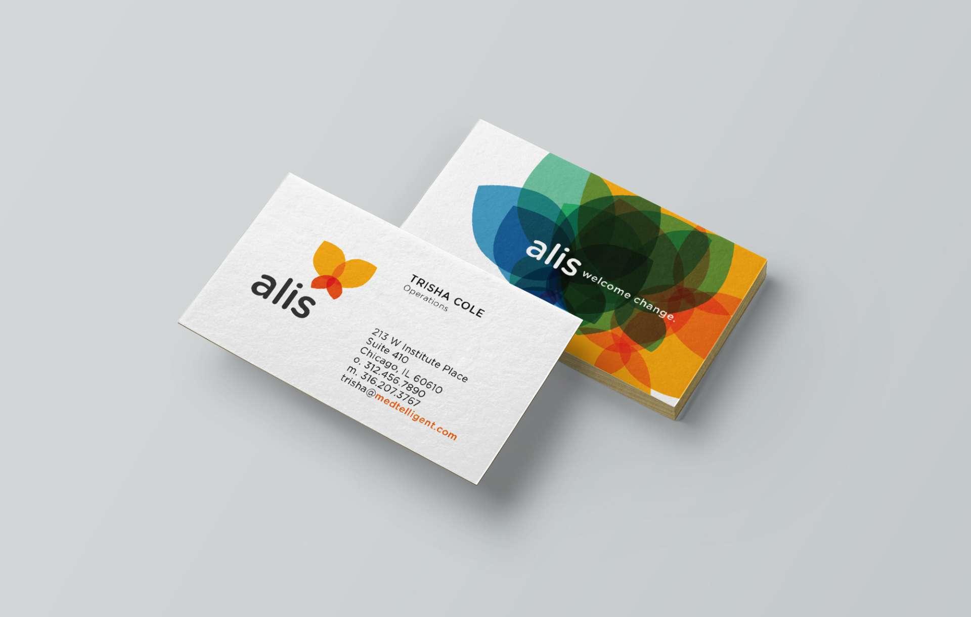 Business cards designed for technology platform ALIS.