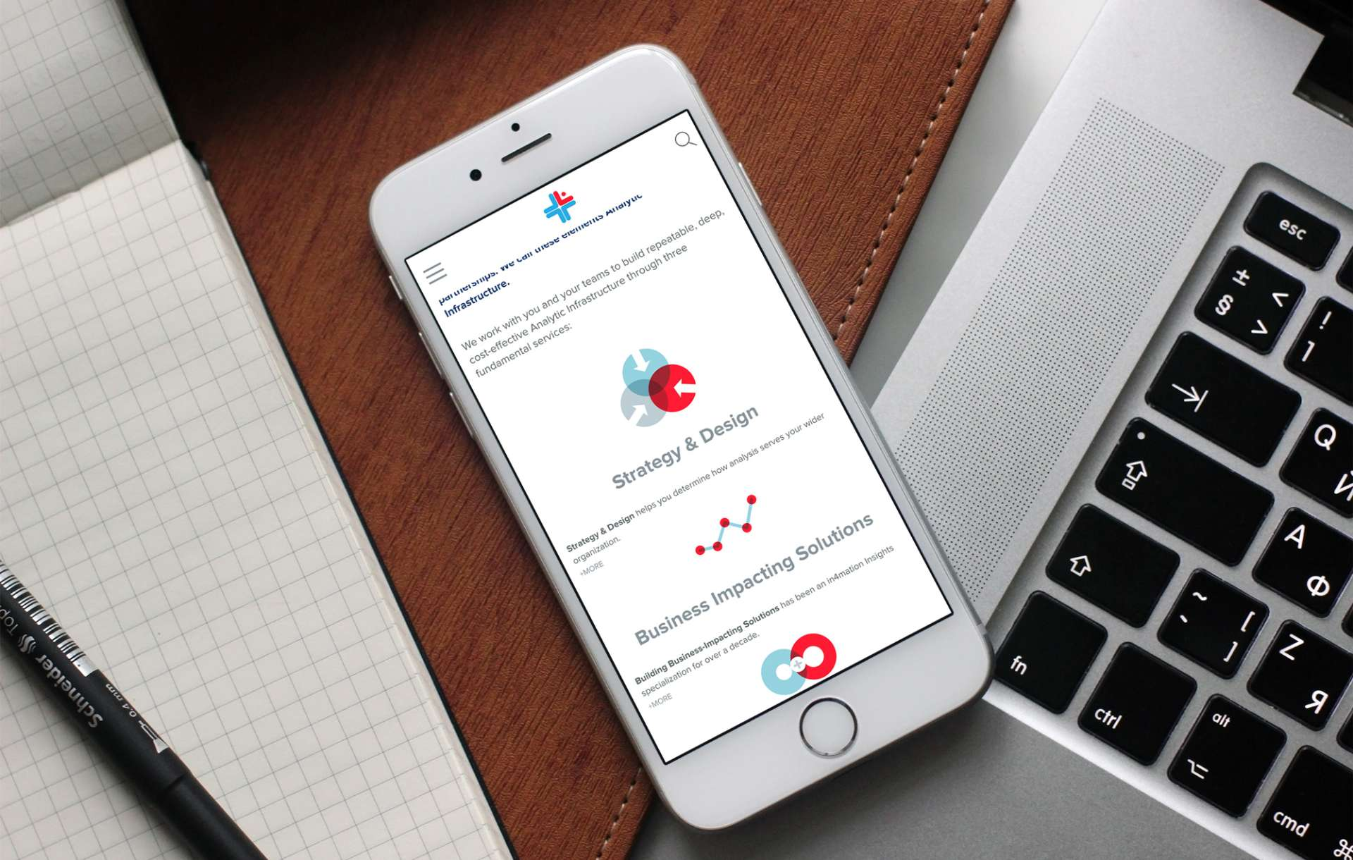 Website design for in4mation insights displayed on a mobile phone