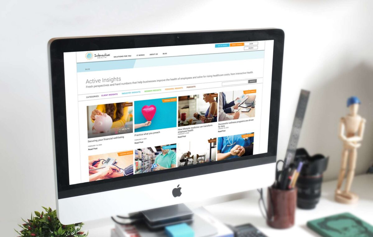 Website design for Interactive Health displayed on a desktop