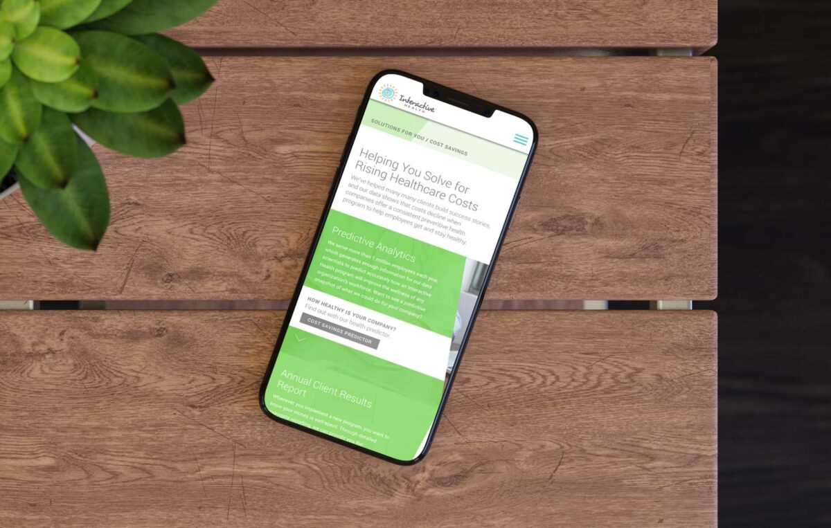 Mobile website design for Interactive Health business service