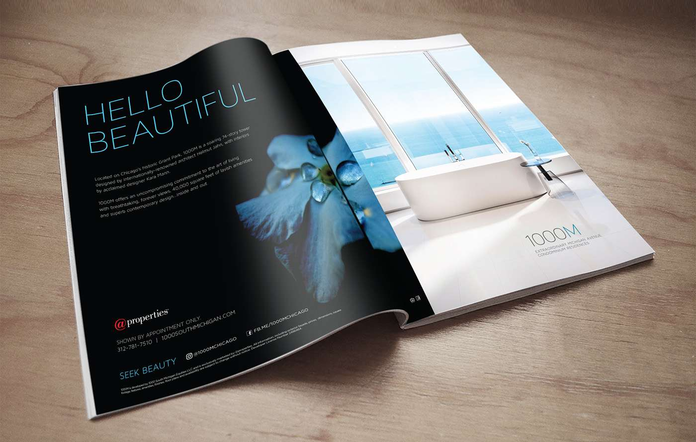 Print magazine ad with Hello Beautiful 1000M creative ad campaign