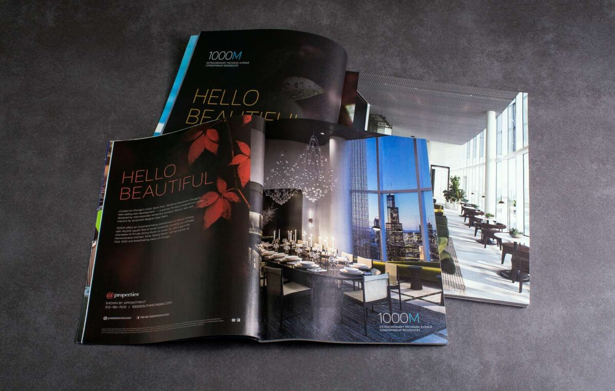 Two print magazine ads displayed side by side for 1000M, both designed using the Hello Beautiful creative campaign