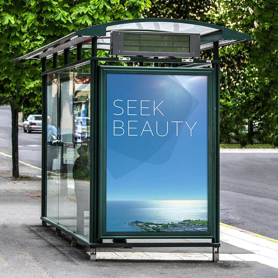 Outdoor advertising bus ad campaign with Seek Beauty 1000M teaser campaign