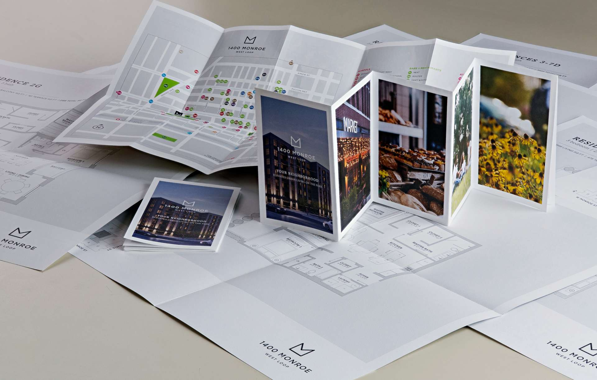 Print collateral kit designed for 1400 Monroe