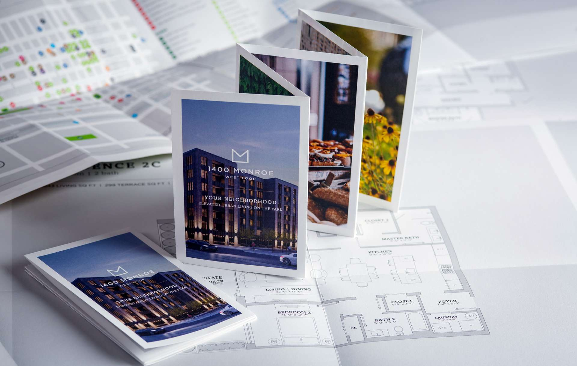Print collateral kit designed for 1400 Monroe