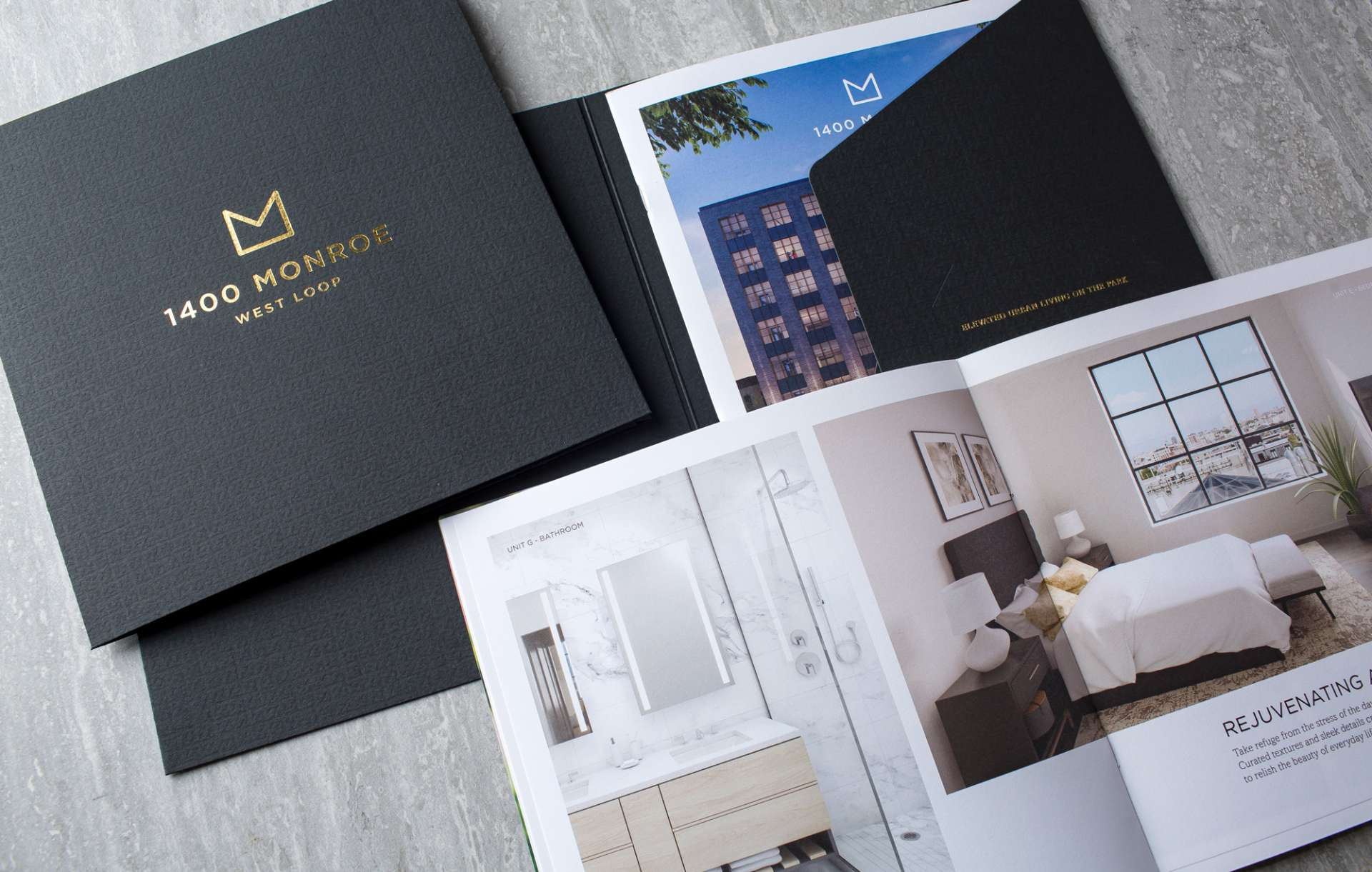 Collateral kit designed for real estate brand 1400 Monroe