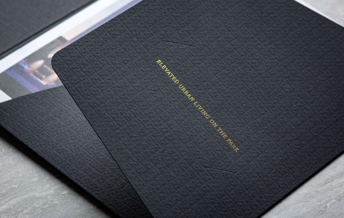 Print collateral kit design for real estate brand 1400 Monroe