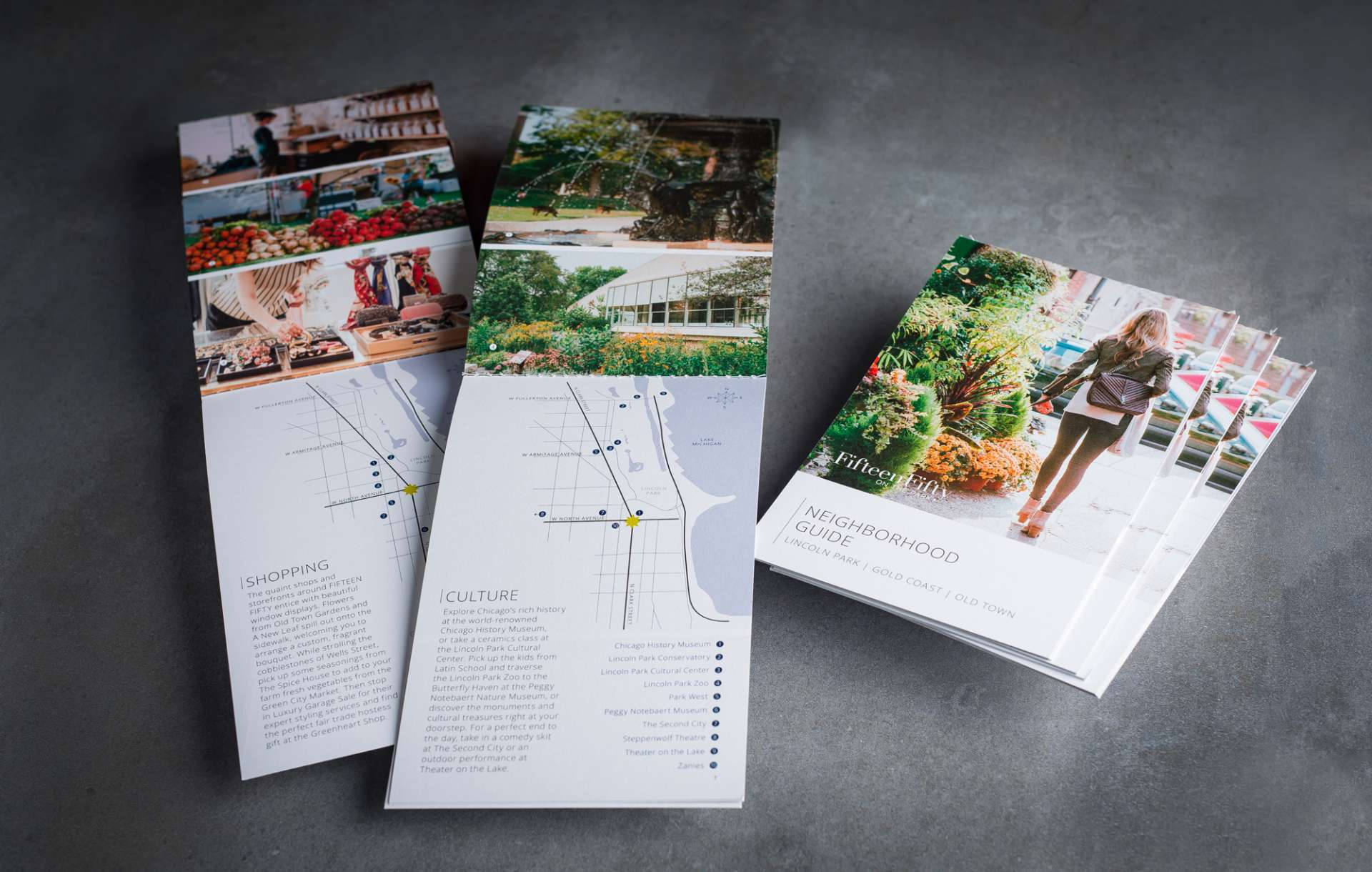 Print collateral kit design for real estate brand 1550 on the Park
