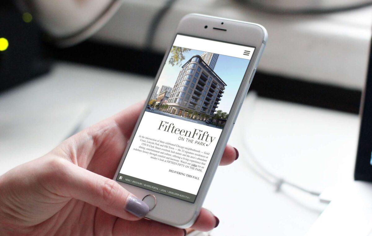 Mobile website design for real estate brand 1550 on the Park