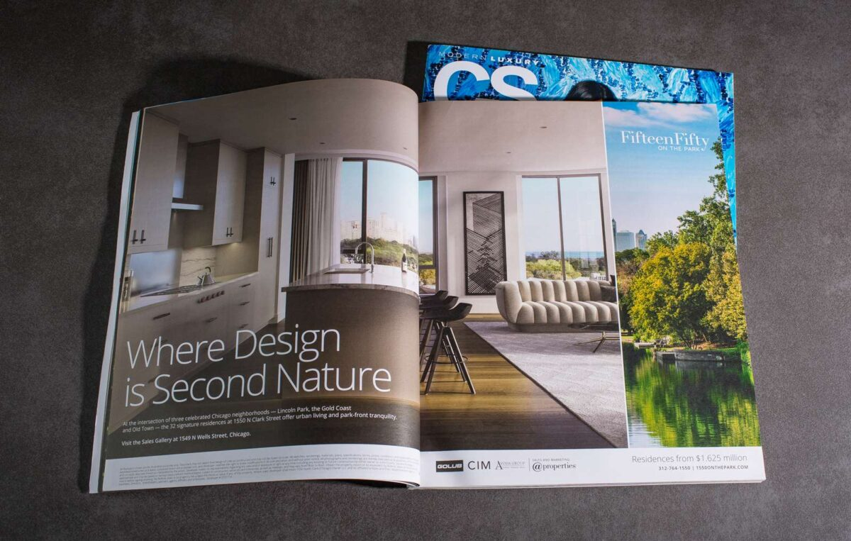 Print ad design for real estate brand 1550 on the Park